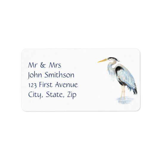 Original Watercolor Great Blue Heron Bird Address Label