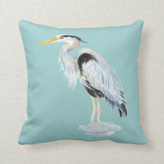 Original watercolor Great Blue Heron Bird Cushion