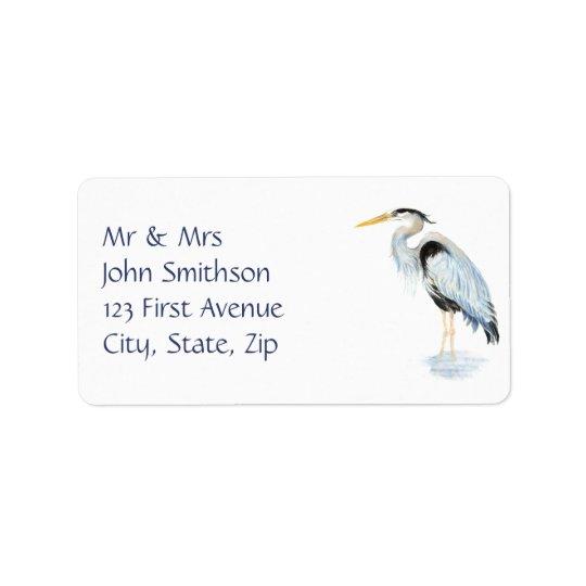 Original Watercolor Great Blue Heron Bird Label