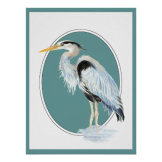Original Watercolor Great Blue Heron Bird Poster