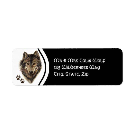 Original Watercolor Grey Grey Wolf Animal Return Address Label