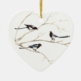 Original Watercolor, Magpie Family, Birds Ceramic Ornament