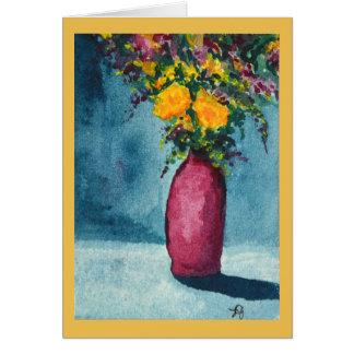 Original Watercolor Purple Vase and Yellow Flowers Card