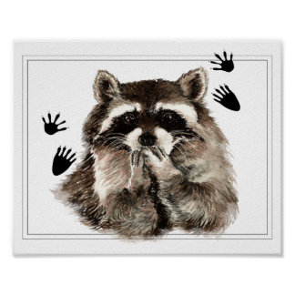 Original Watercolor  Raccoon Blowing Kisses Poster