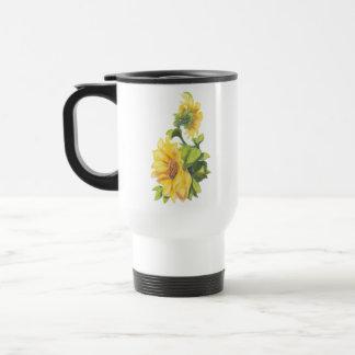 Original Watercolor Sunflower Garden Floral Travel Mug