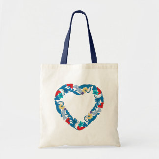 Original Wedding love birds in the flowers heart Tote Bag