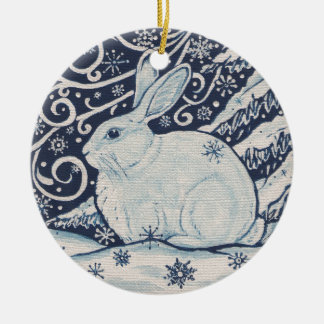 Original Winter Christmas Rabbit Blue & White Ceramic Ornament