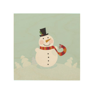 Original wood table with Snowman Wood Print