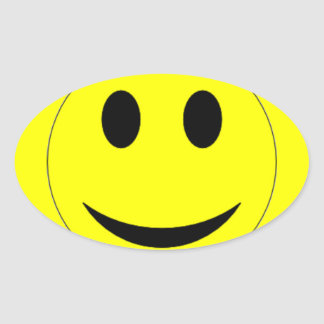 Original Yellow Oval Smiley Face Oval Sticker