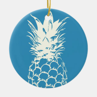 Original Yellow Pineapple blue Design Ceramic Ornament