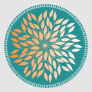 Oriole Orange Leafy Mandala on Teal Classic Round Sticker