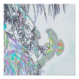 Orioles in Palm Tree Abstract Poster
