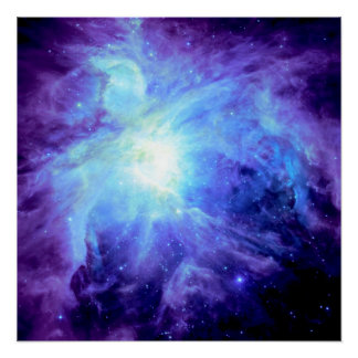 Orion Nebula Periwinkle Blue Galaxy Poster