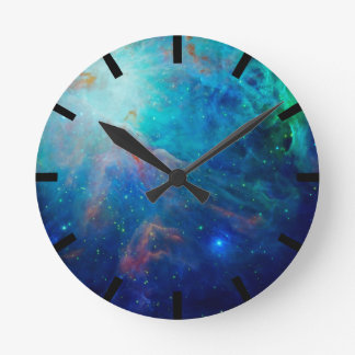 Orion Nebula shimmering blue NASA Round Clock