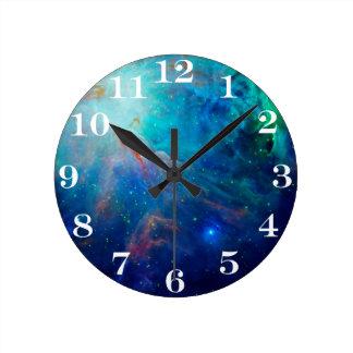 Orion Nebula shimmering blue NASA Round Clock