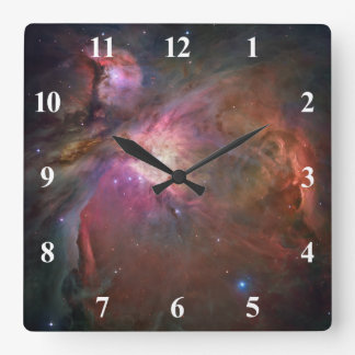 Orion Nebula White Numbers Square Wall Clock