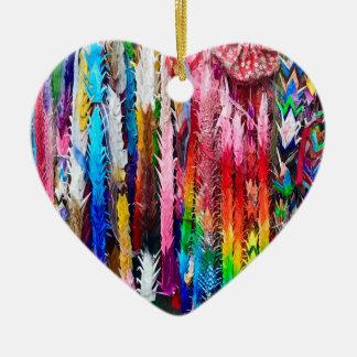 Orizuru Paper Crane Garlands Ceramic Ornament
