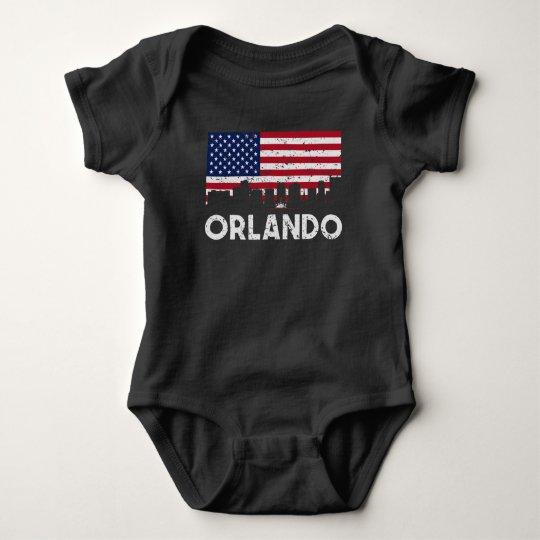 Orlando FL American Flag Skyline Distressed Baby Bodysuit