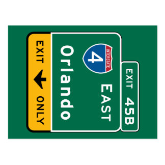 Orlando, FL Road Sign Postcard