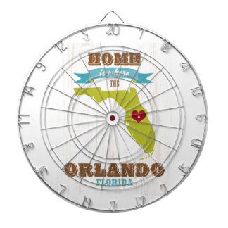 Orlando, Florida Map – Home Is Where The Heart Is Dartboard With Darts
