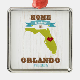 Orlando, Florida Map – Home Is Where The Heart Is Ornament