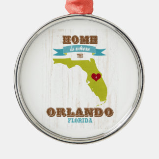 Orlando, Florida Map – Home Is Where The Heart Is Round Metal Christmas Ornament