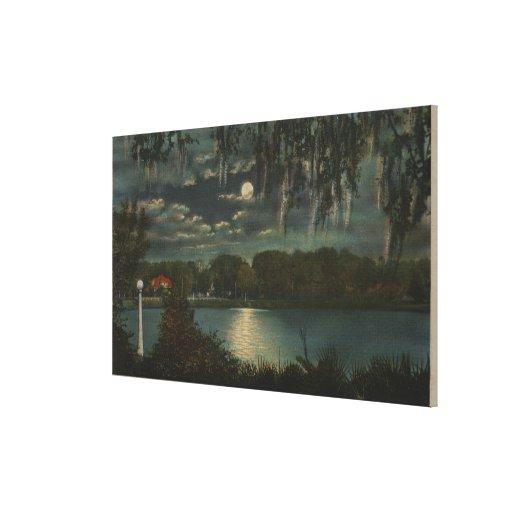 Orlando, Florida - Moonlit View of Lake Cherokee Gallery Wrap Canvas