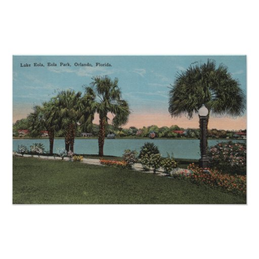 Orlando, Florida - View of Lake Eola and Eola Poster