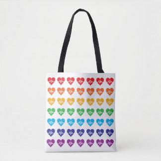 Orlando Strong One Pulse 49 Hearts Rainbow Tote Bag