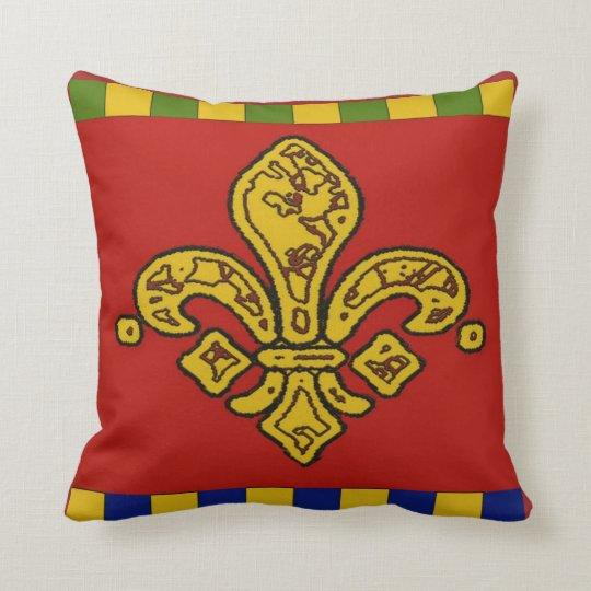 Orleans fleur De Lis, Red and Gold Cushion