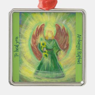 Ornament: Archangel Raphael Silver-Colored Square Decoration