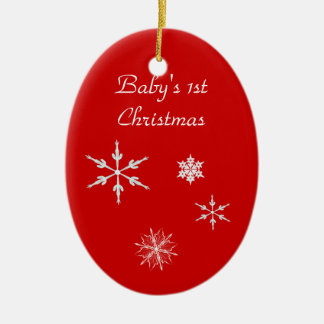 Ornament--Baby's 1st With Snowflakes Ceramic Oval Decoration