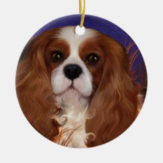 Ornament, cavalier spaniel, blenheim ceramic ornament