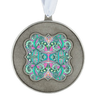 Ornament Drawing Floral Scalloped Pewter Christmas Ornament