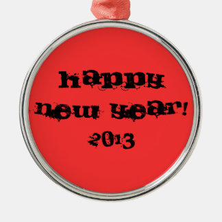 ornament, happy new year, 2013 Silver-Colored round decoration