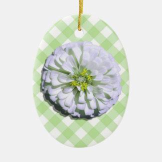 Ornament - Lemony White Zinnia on Lattice