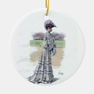 Ornament of an Edwardian Woman at a Horse Track