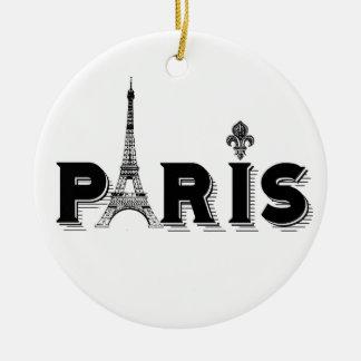 Ornament...PARIS black and white Round Ceramic Decoration