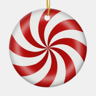 Ornament, Peppermint Candy Round Ceramic Decoration