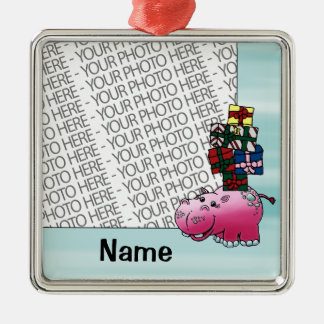 Ornament, Photo & Name Template Cute Hippo & Gifts Metal Ornament