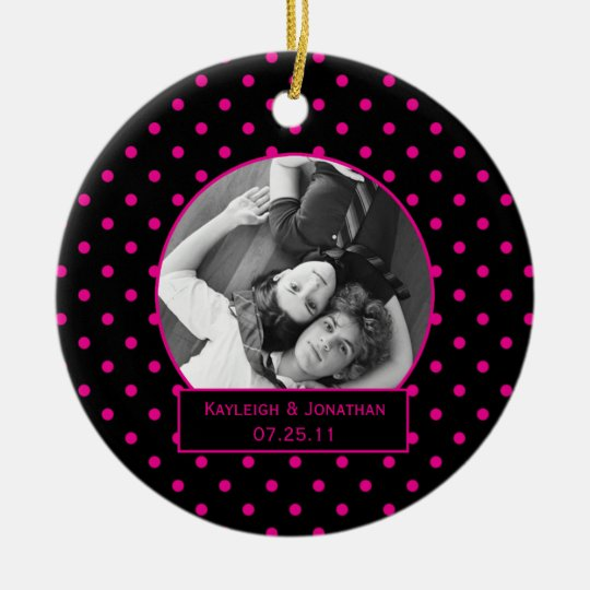 Ornament Pink and Black Polka Dots Wedding Keepsa