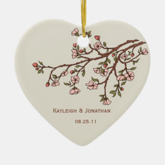 Ornament Pink Cherry Blossoms Wedding Keepsake