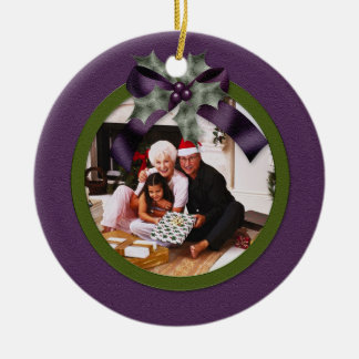 Ornament Purple Green Holly Bow Christmas Photo