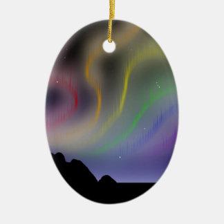 Ornament: Rainbow Northern Lights Ceramic Ornament