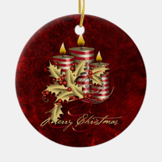 Ornament Red Candles Gold Holly Christmas