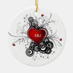 Ornament Red Heart Black Swirls Wedding Keepsak
