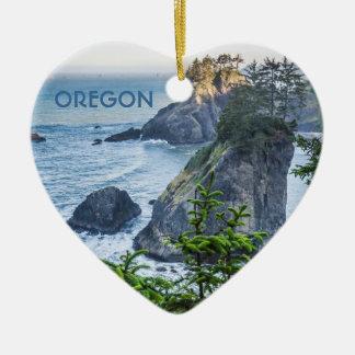 Ornament: Sea Stacks And Iris (Heart) Ceramic Ornament