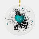 Ornament Teal Heart Black Swirls Wedding Keepsak