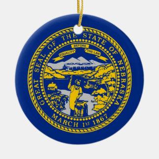Ornament with flag of Nebraska