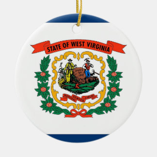 Ornament with flag of West Virginia
